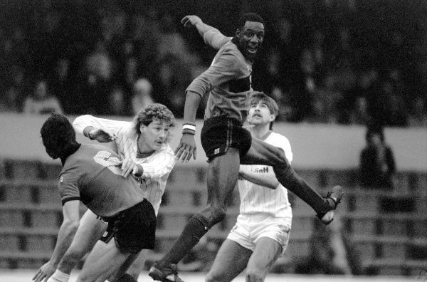 Millwall's John Fashanu (second r) climbs highest to win a header