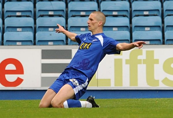 Millwall's Steve Morison celebrates after he scores his sides equalising goal from the penalty spot