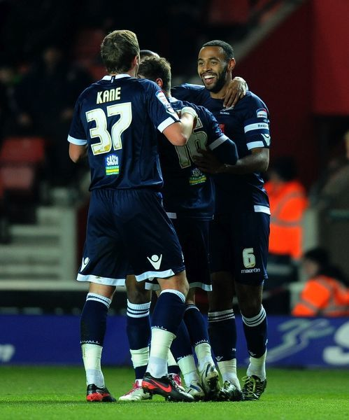 Millwall's Liam Trotter (6) celebrates scoring their first goal