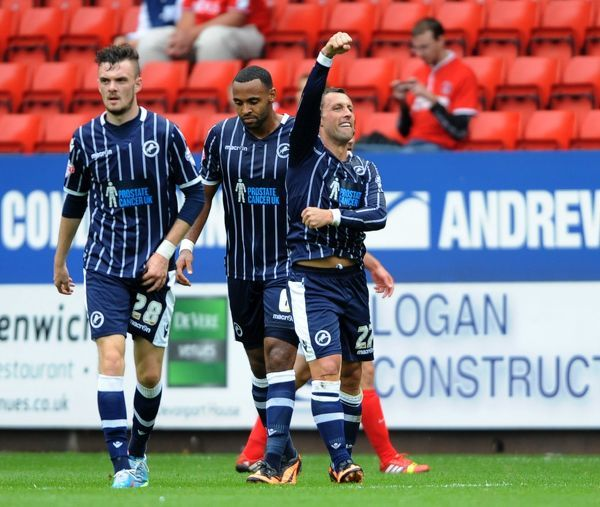 Millwall's Scott McDonald celebrates scoring the first goal