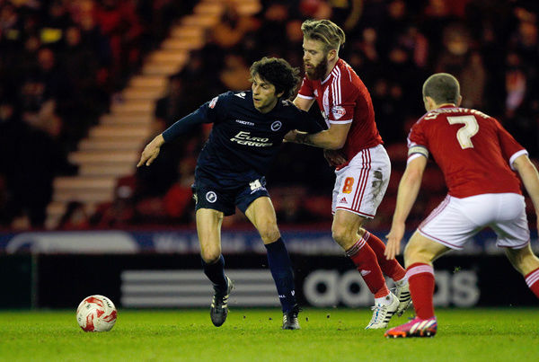 Millwall's Diego Fabbrini holds off Middlesbrough's Adam Clayton during the Sky Bet Championship match at Riverside Stadium, Middlesbrough