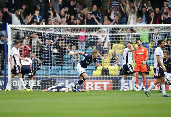 Millwall's George Saville scores his team's first goal of the game against Bolton Wanderers