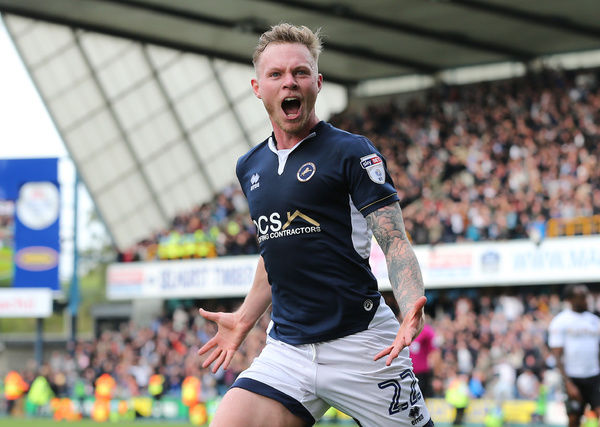 Millwall's Aiden O'Brien celebrates scoring his side's first goal of the game during the Sky Bet Championship match at The Den, London