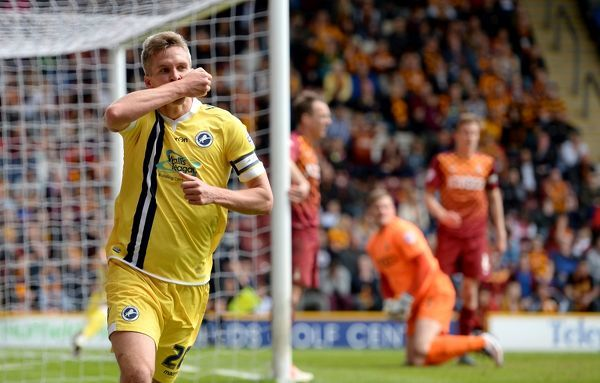 Millwall's Steve Morison celebrates scoring his side's second goal during the Sky Bet League One play off, first leg match at Valley Parade, Bradford