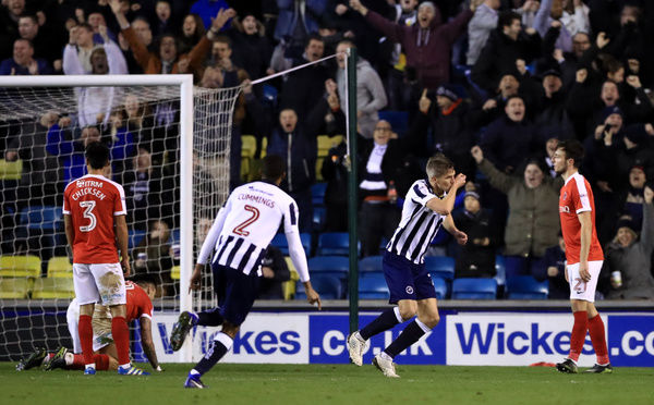 Millwall's Steve Morison celebrates scoring his side's third goal of the game