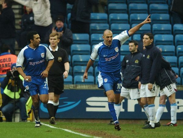 Millwall's Danny Dichio celebrates scoring the winning goal against Burnley