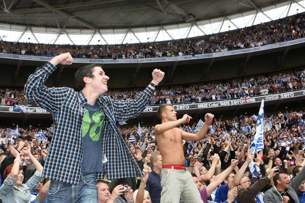 Millwall fans celebrate in the stands