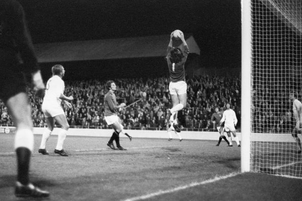 Millwall goalkeeper Bryan King soars to collect a ball from a Nottingham Forest corner